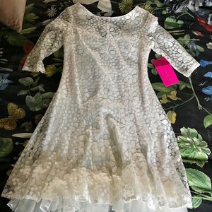 Betsey Johnson NWT White Sheer Floral Dress
